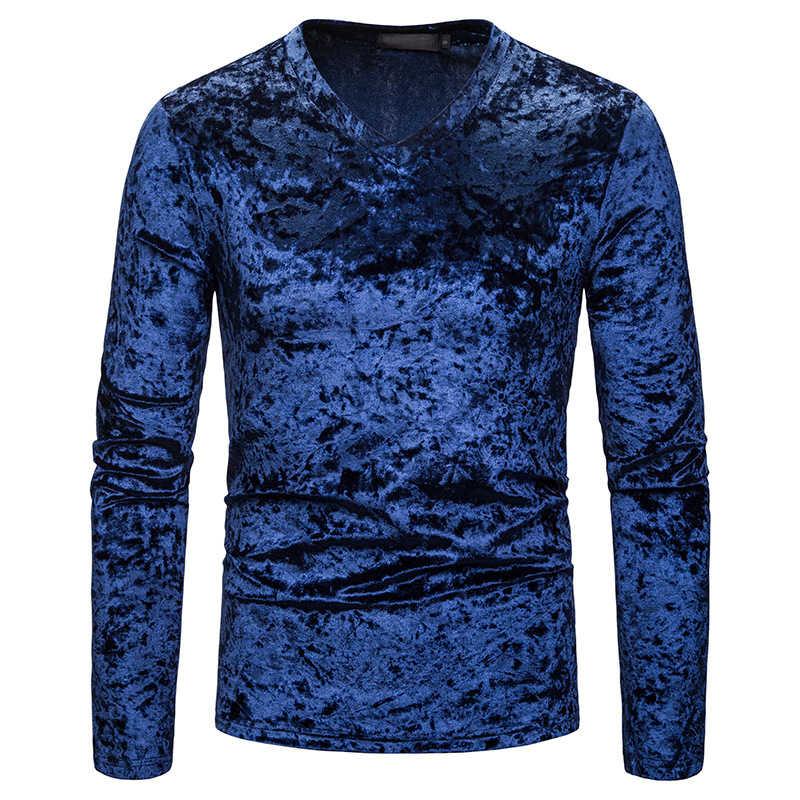 2019 New Men's Slim Fit V Neck Velvet T Shirts Male Long Sleeve Sexy Solid Color Velvet T Shirt Men Casual tShirt Tops S-2XL