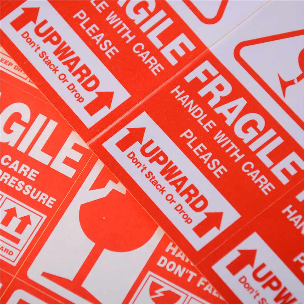 50 Buah/Lot Rapuh Label Peringatan Stiker Rapuh Stiker Lebih Tinggi dan Menangani dengan Hati-hati Tetap Kering Pengiriman Express Label