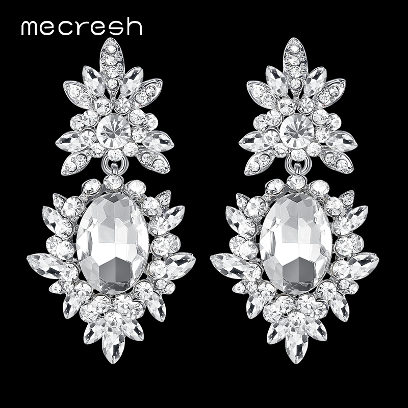 Mecresh Korean Silver Color Big Wedding Drop Earrings for Bride Cute Rhinestone Flower Earrings Female Fashion Jewelry MEH1080
