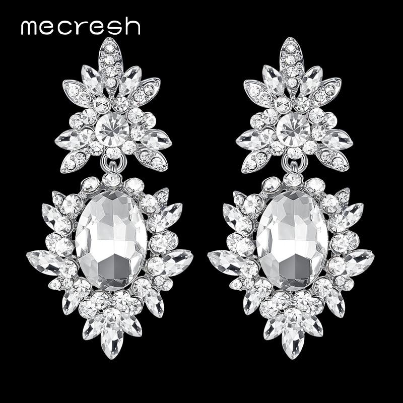 Mecresh Korean Silver Color Big Wedding Earrings for Bride Cute Rhinestone Flower Earrings Female Fashion Jewelry 2018 MEH1080
