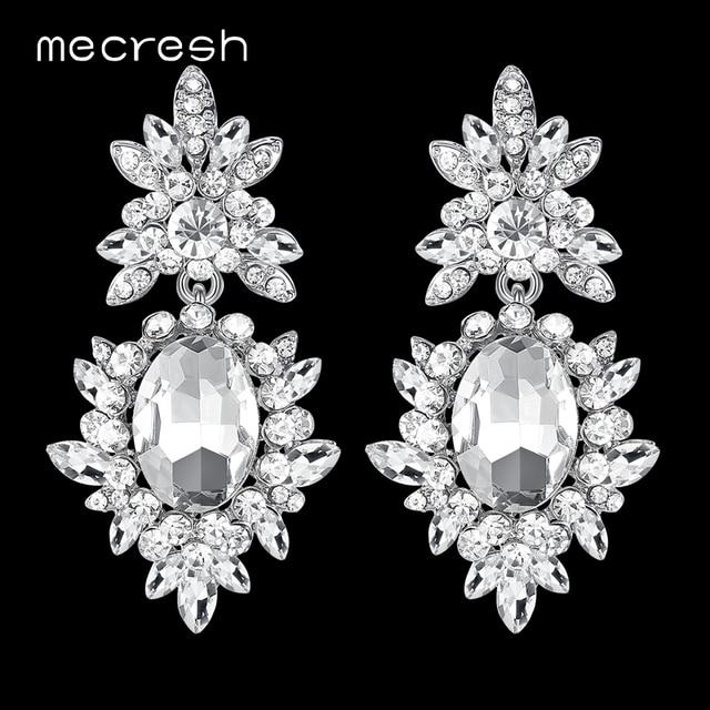 Mecresh корейский Серебряный цвет большие свадебные серьги для невесты милые стразы цветок серьги женские ювелирные изделия 2018 MEH1080