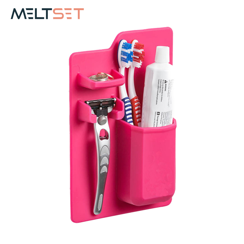 Silicone Bathroom Shelves Organizer Toothbrush Toothpaste Shaver Storage Holder Wall Mounted Hanger For Mirror Household Items