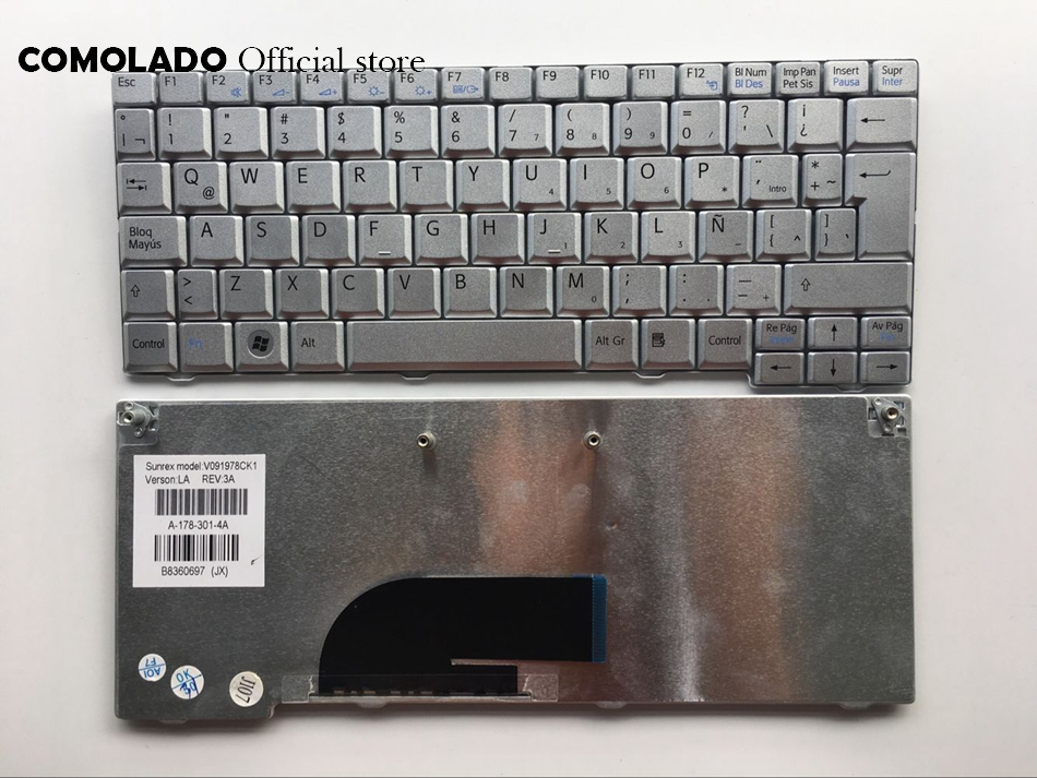 LA Latin Keyboard For Sony Vaio VPC-M VPC-M12 VPCM12 VPCM120AL M12 M13 Silver Keyboard LA Layout