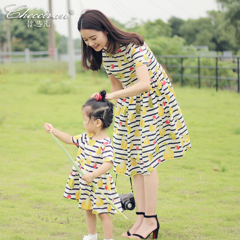 Checcivan Family Fashion Dress 100% Cotton Clothes Baby Girls Short-sleeve Stripe Dress Print one-piece Dress for Mom& Daughter 2015 family summer stripe short sleeve t shirt shorts skirt set fashion sports clothes for mom and daughter free shipping a048