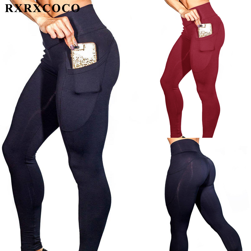 RXRXCOCO Hot Sport Leggings Women Fitness Mallas Mujer Deportivas Yoga Pants Gym Running Trousers Plus Size Clothing With Pocket
