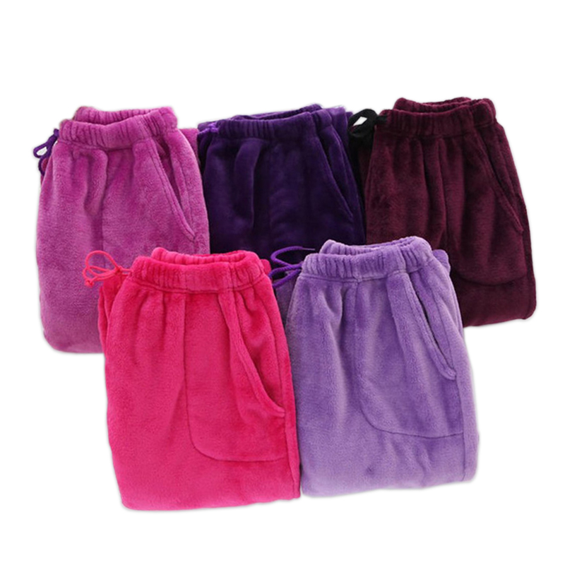 New Winter Warm Flannel Lovers Sleep Bottoms Men And Women Long Pants Coral Velvet Warm Sleep Pants Women Indoor Trousers