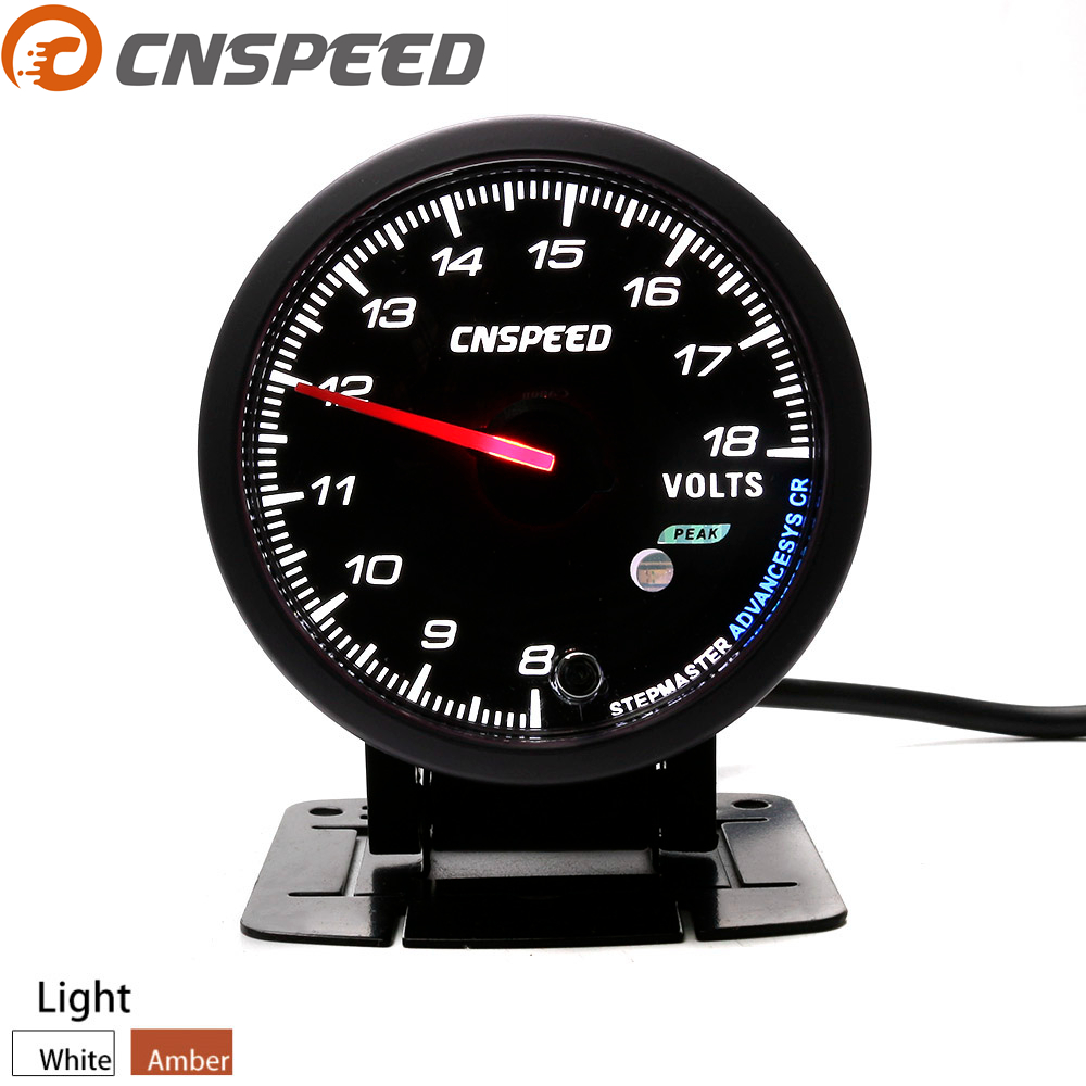 Voltímetro facial negro de calibre de voltaje automático de 60MM CNSPEED con iluminación ámbar y blanca de 8-18V YC101177 con envío gratis
