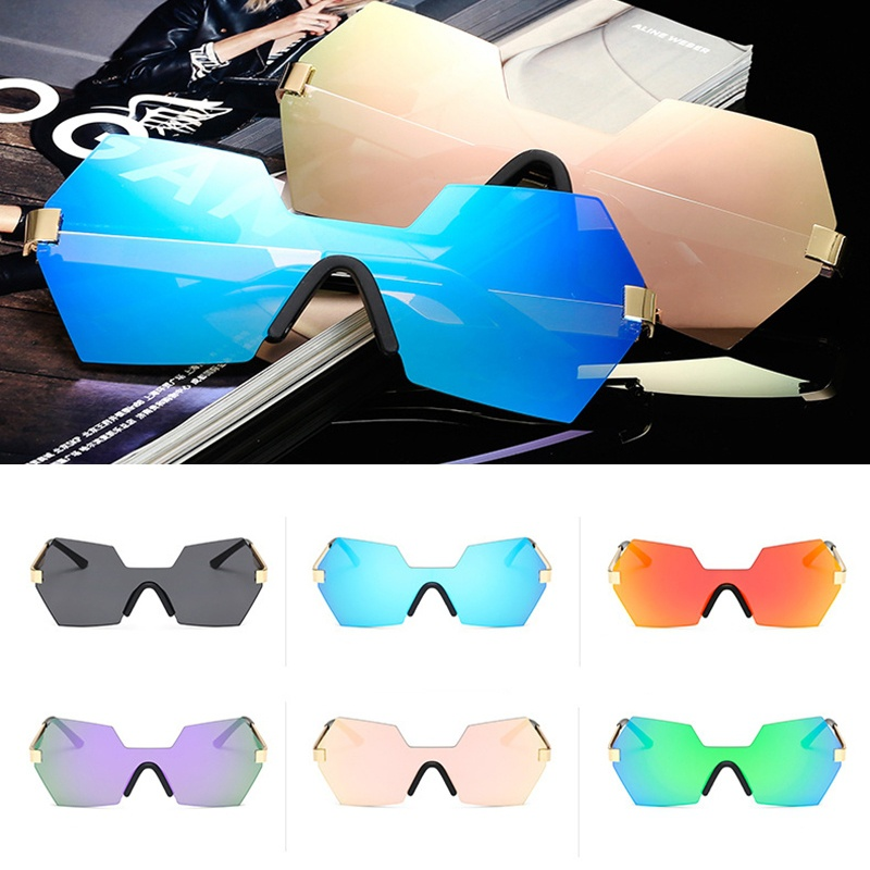 Vintage zonnebril New Fashion Unisex Frameless Goggles Metallic Wave - Kledingaccessoires