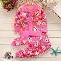 BibiCola Осень зима новорожденных девочек рождество одежда набор ребенок Цветок утолщаются Теплую одежду набор детей кардиган свитера + брюки