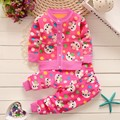 BibiCola Autumn winter baby girls christmas clothing set kid Flower thicken Warm clothes set children cardigan sweaters+pants