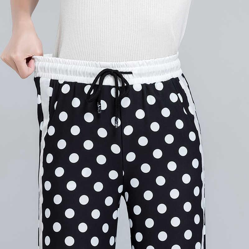 Mulheres Dot Chiffon Perna Larga Calças 2019 Primavera Cintura Alta Lace Up Comprimento Total Preto Listrado Calças Calça Casual Elegante para a Menina