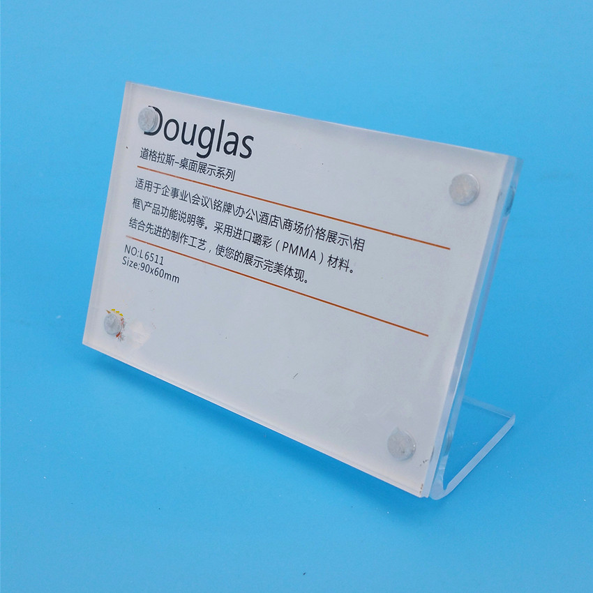 90x60mm Clear Acrylic Sign Display Paper Price Tag Card Table Label Holder Horizontal L Stand With Magnet In Corner 500pcs