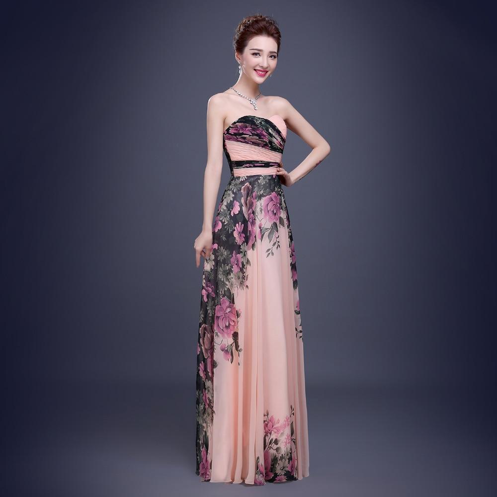 thepron.ru Prom dress 2017 envío libre de la piso-longitud de flores estampado de  flores de