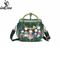 INONE Luxury Bags for Women 2018 Bolsa Feminina Peacock Green Ethnic Round Cell Phone Case Crossbody Messenger Bag Travel Purse