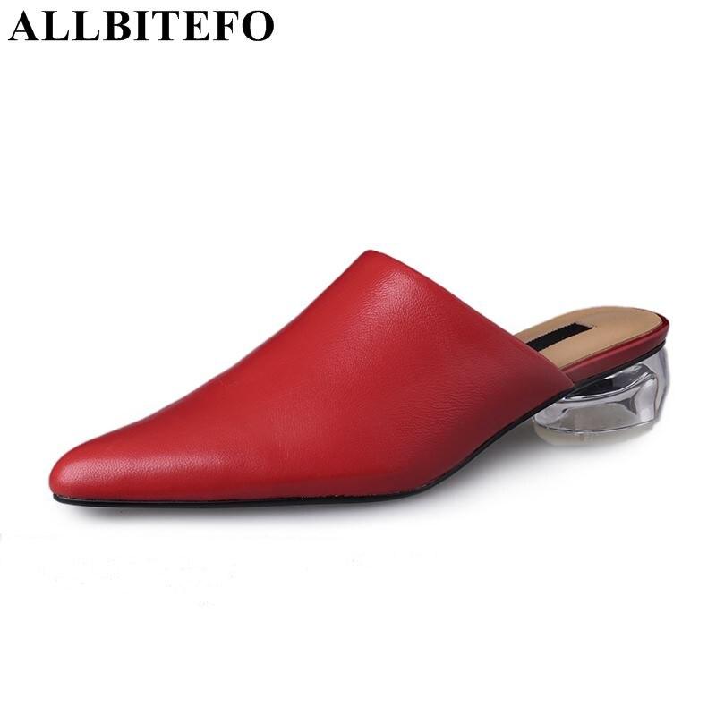 À Talons Allbitefo Noir Chaussures Cuir Épais Parti Talon Cristal D'été Pour Sandales rouge Véritable blanc Femmes b7fgy6vIY