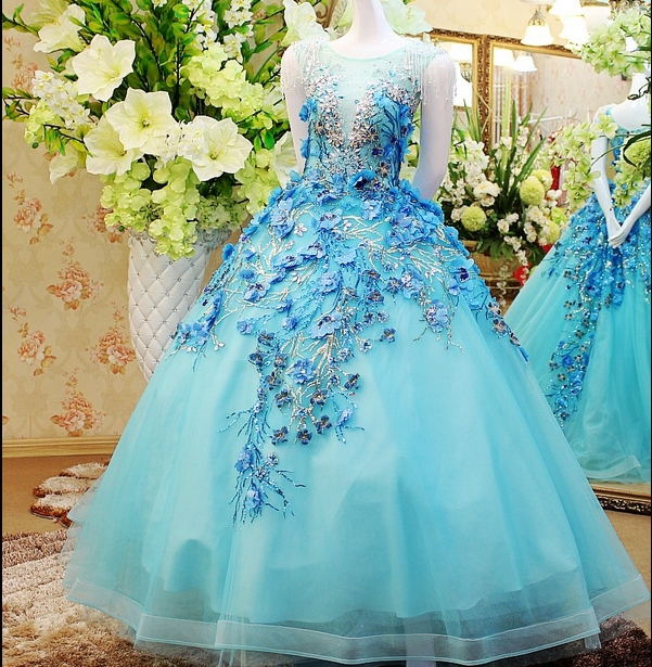 Cap Sleeve Scalloped Neckline Ice Blue Ball Gown Beach Wedding Dress ...
