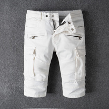 2018 Summer Fashion Mens Jeans Shorts White Color Big Pocket Cargo Spliced Short Balplein Brand Denim Men