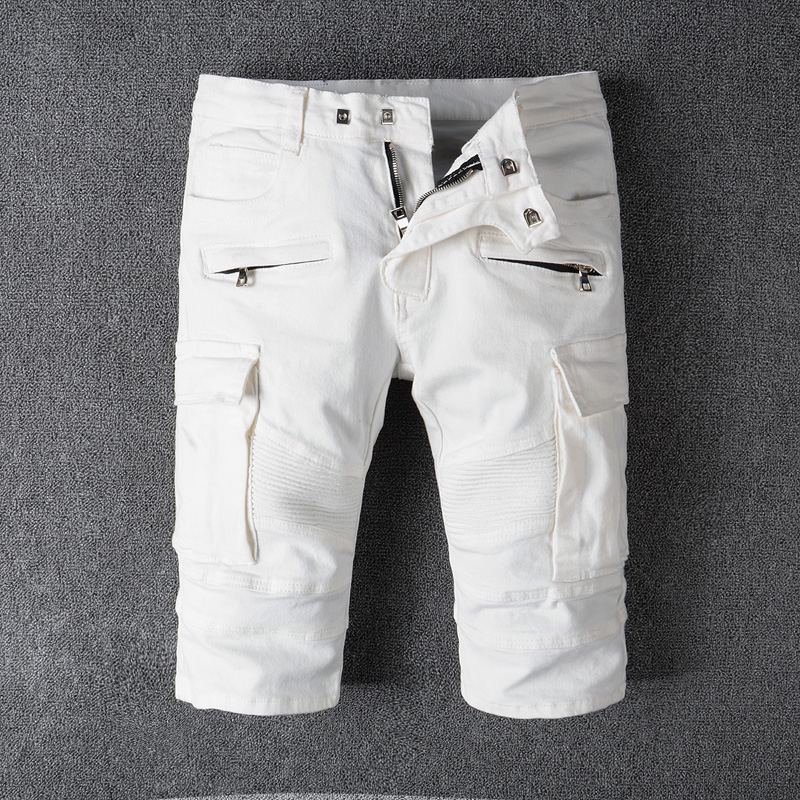 2018 Summer Fashion Mens Jeans Shorts White Color Big Pocket Cargo Shorts Spliced Short Jeans Balplein Brand Denim Shorts Men