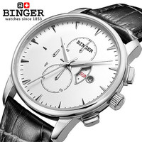 Original Binger Brand Quality Wristwatch Goods Business Fashion Men S Leather Watch Waterproof White Gold Quartz