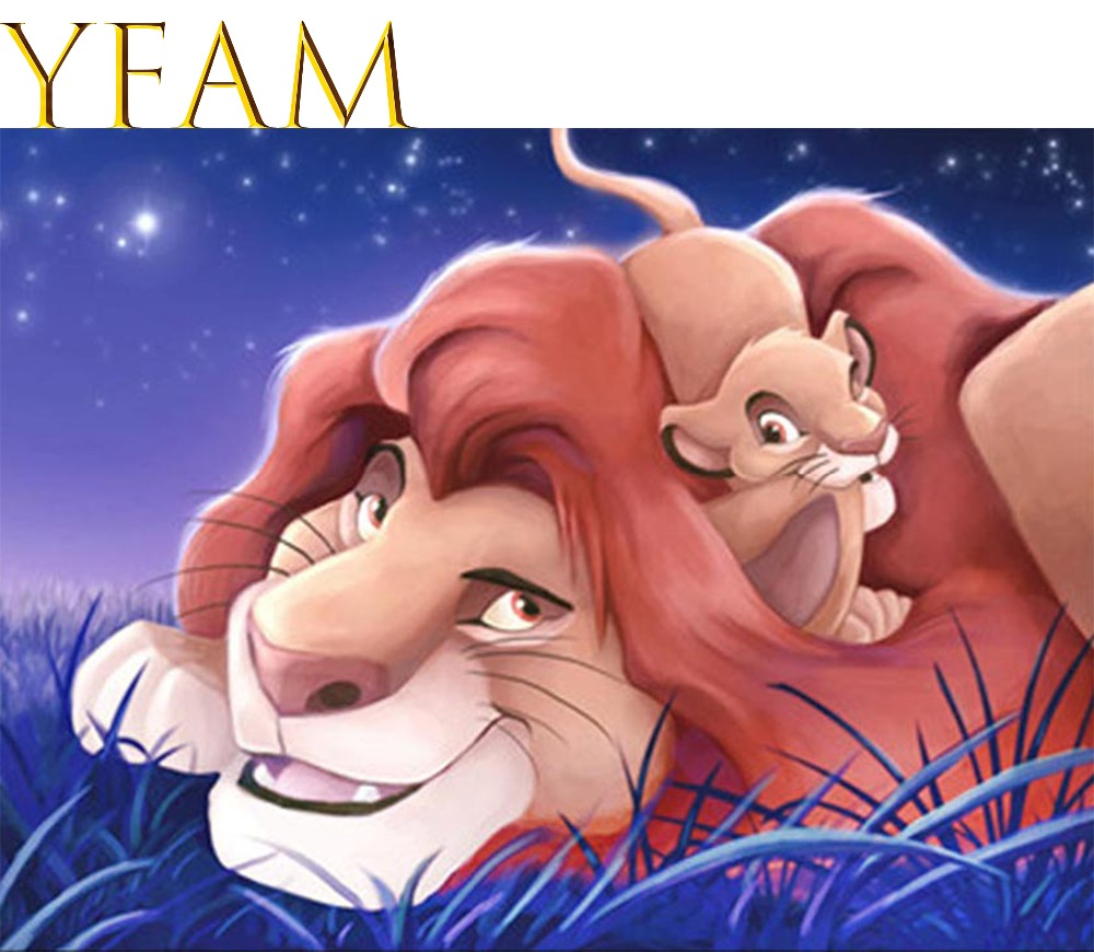 Lucu Kartun Hewan Singa Dan Mouse Diy Digital Lukisan