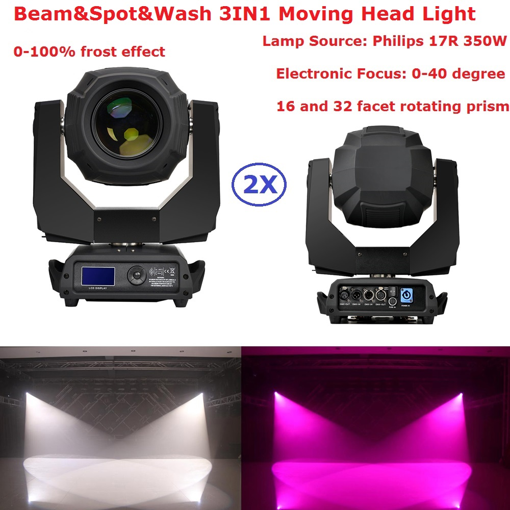 2Pcs Moving Head Beam Light High Quality 17R 350W Moving Head Spot Lights With Zoom Function Professional Dj Lighting Equipments 2pcs lot flycase 16 prism power 350w 17r moving head beam sharpy light lyre gobos lumiere dmx 17r spot stage dj party lighting