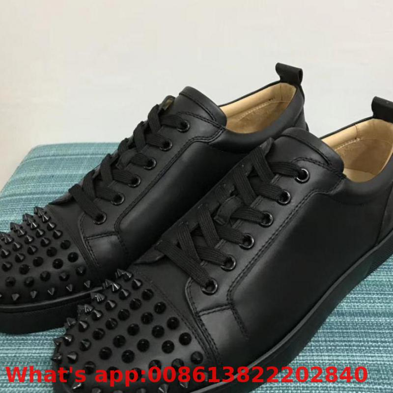 Low Cut Leisure Lace Up Full Black Leather Rivets Front Fashion Red Bottom For Man Shoes Sneakers Casual Flat Loafers(China)