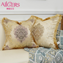 Avigers Luxury European Cushion Covers with Tassels Gold Embroidery Pillow Cases for Sofa Living Room