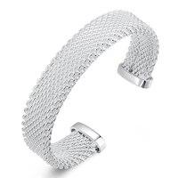 Freeshipping Wholesale 925 Silver Bangles Fashion Mesh Bangles 925 Bangles Fashion Bracelets Jewelry B029