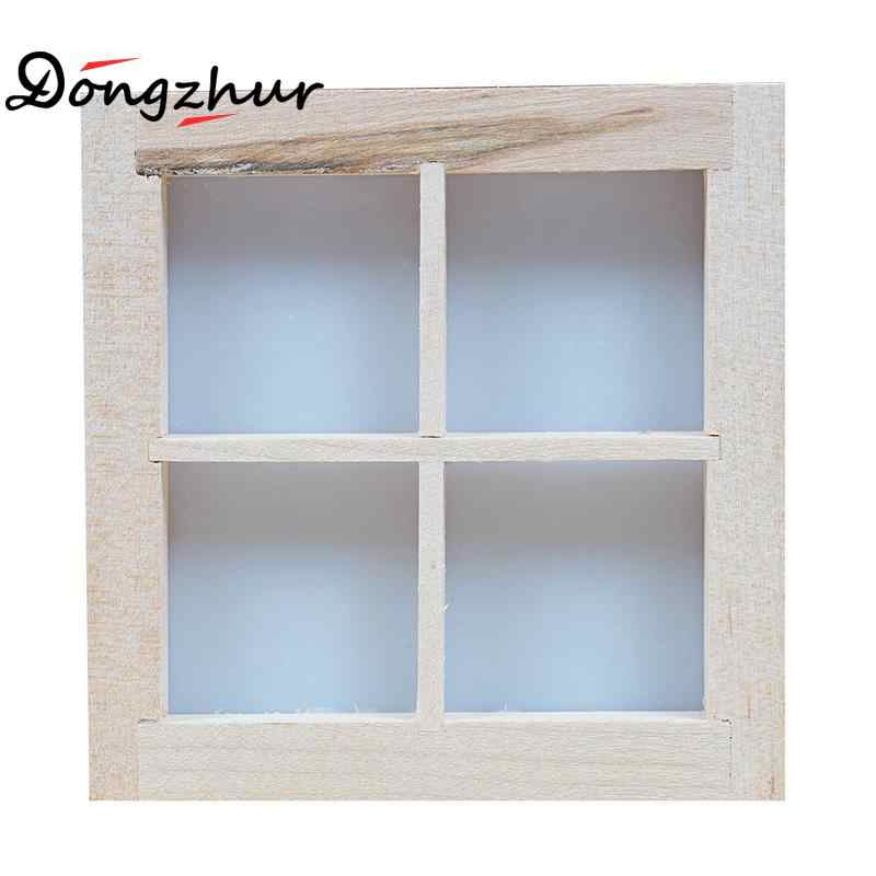 Dongzhur Dollhouse Miniatures 1:12 Accessories Furniture Mini Window Model 4 Grid Wooden Windows DIY Wooden Doll House Kit Toy