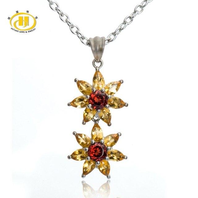 "Hutang  Jewelry Genuine Citrine & Garnet Solid 925 Sterling Silver Flower Pendant Necklace Women's Birthday Gift 18"""