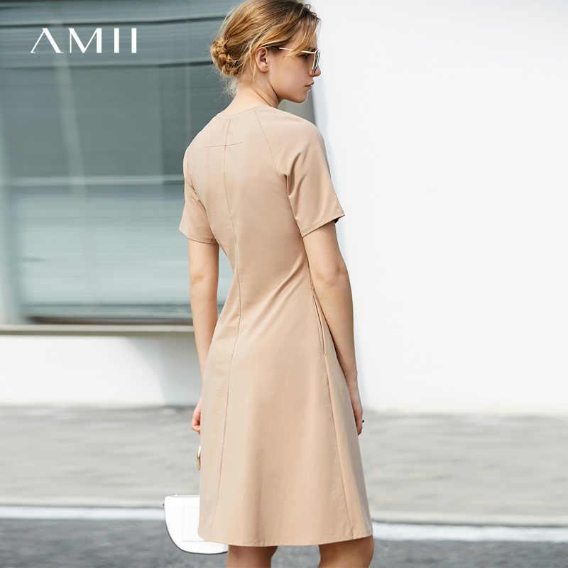 88efd9a750f ... Amii Для женщин минималистский летнее платье 2018 Твердые Офисные  женские туфли линия плюс Размеры по колено ...