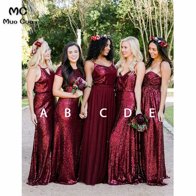 2018 Bling Bling Burgundy   Bridesmaid     Dress   Long with Sequined ABCDE Design Formal Wedding Party   Dress   Women   Bridesmaid     Dresses