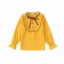 Школьные рубашки с круглым вырезом и длинными рукавами для девочек; обычные блузки для девочек; однотонные топы для подростков; одежда для детей; bs074