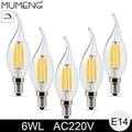mumeng E14 LED Light Bulb 6W dimmable Candle Bulb 6pcs cob Filament Energy Saving led Bulb 220V Lampara led for Chandelier 6X
