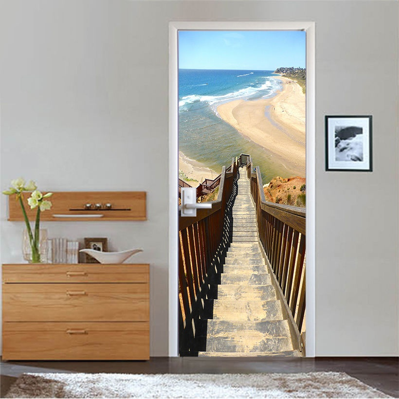 Free Shipping 3d Red Arch Stairs Town Door Wall Stickers Bedroom Home Decor Poster Pvc Waterproof Door Sticker 77x200cm For Sale Wall Stickers