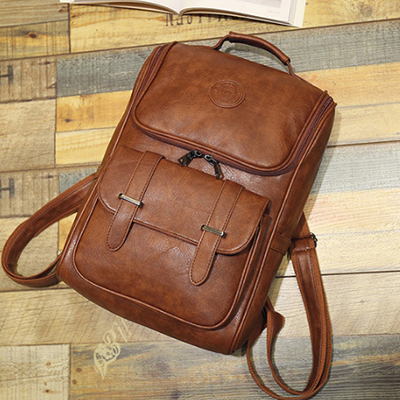 High Quality England Vintage Style PU Leather Men Backpacks For College Preppy Style School Backpacks for computer laptop bags