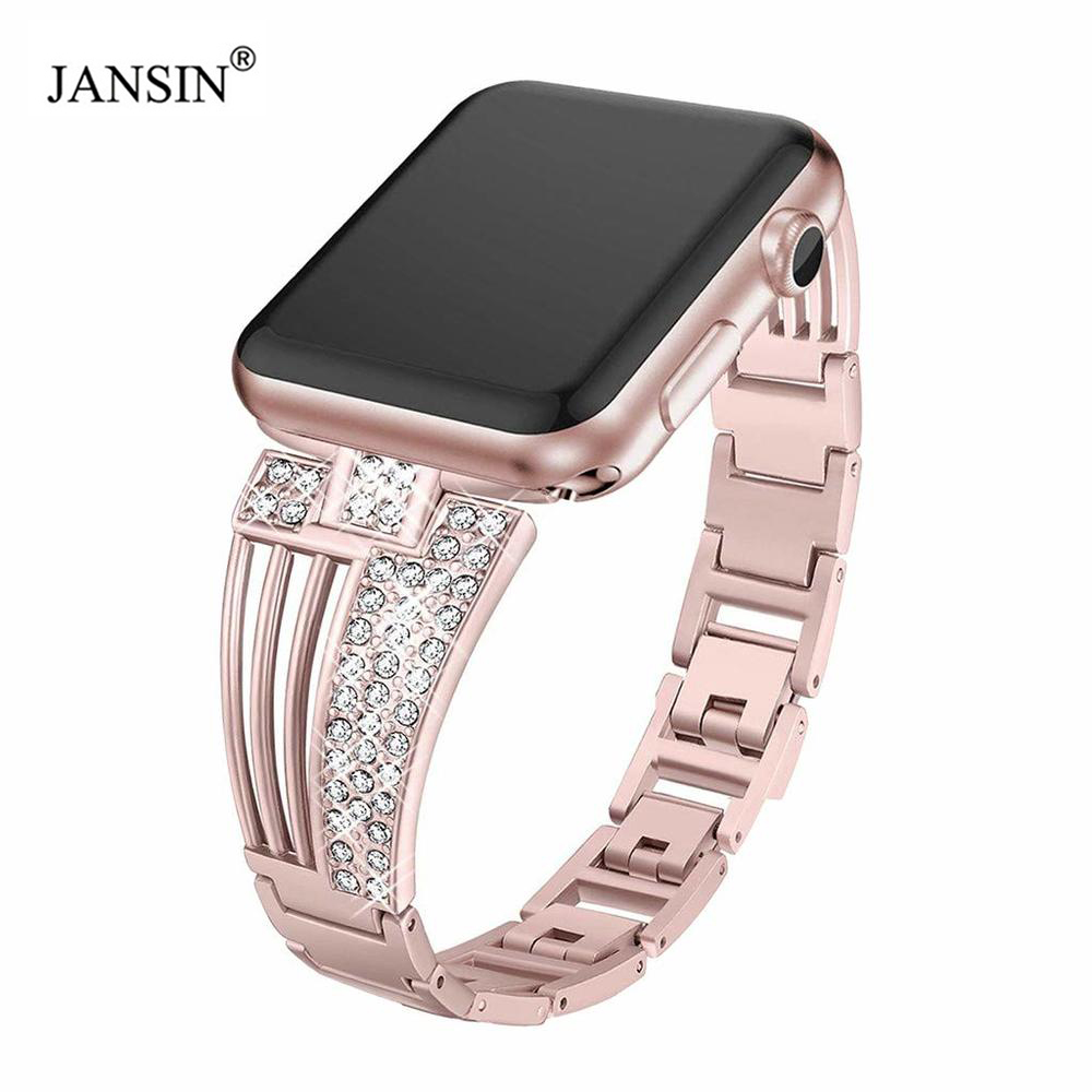 Luxury Crystal Diamond Bracelet Strap For Apple Watch Bands 42mm 38mm 40mm 44mm Series 5 4 3 2  Women Wrist Stainless Steel Band