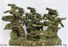 25.4cm * / South China Taiwan jade carved eight horses run successfully