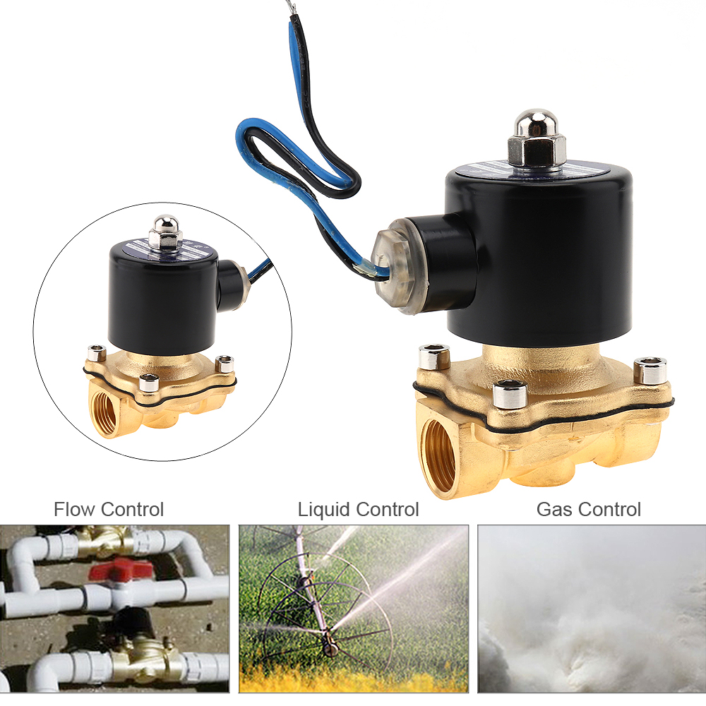 1/2 DC 24V Brass Electric Solenoid Valve Pneumatic Valve for Water / Oil / Gas