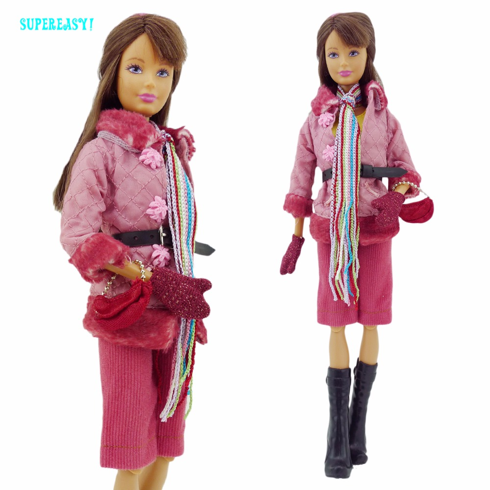 Fashion Winter Outfit Coat Pants Scarf Boots Gloves Handbag Dollhouse Accessories Clothes For Barbie FR Kurhn Doll Toys Gift handmade casual wear outfit jacket coat gray vest pants khaki trousers clothes for american girl doll 18 accessories toys gift