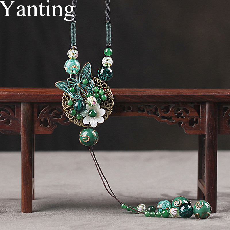 Yanting Butterfly Pendant Necklace For Women Shell Flower Ethnic Long Statement Necklace Cloisonne Glass Glazed Beads 096