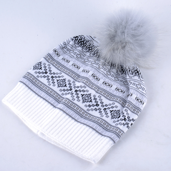 Autumn Winter Beanie Fur Hat Knitted Wool Cap With Raccoon Fur Pompom Skullies Caps Ladies Knit Winter Hats For Women Beanies 2