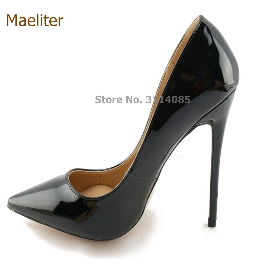 Chic Ladies Black Mirrored Leather Pointed Toe Shoes Thin Extreme High Heel Gladiator Shoes Wedding Pumps 10cm 12cm Heel US10 jawakye super high heel pumps red white shoes women pointed toe high quality leather wedding shoes bride 12cm ladies stilettos