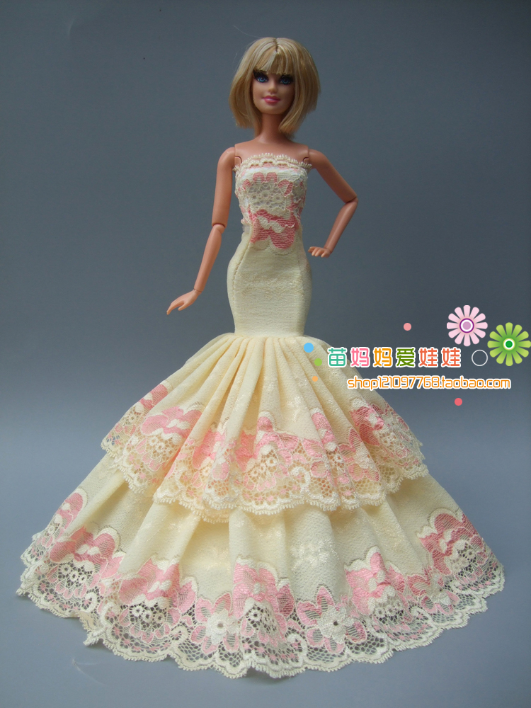 Новое поступление коллекции Роскошные желтый хвост вечернее платье для куклы Барби для fashion Royalty FR Кукольное платье