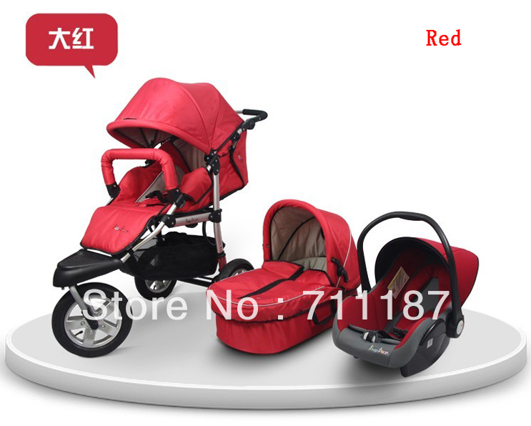 High Quality Luxury 3 In 1 Pram Baby Carriage With Bassinet And The Car SeatComfortable Cheap Wheel Folding Red Stroller Three Wheels