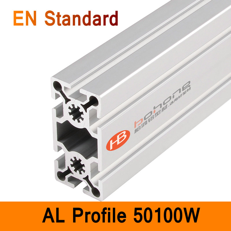 50100W Aluminium Profile EN Standard DIY Brackets Aluminium AL Extrusion CNC 3D DIY Printer Parts Aluminum Pipe T Slot