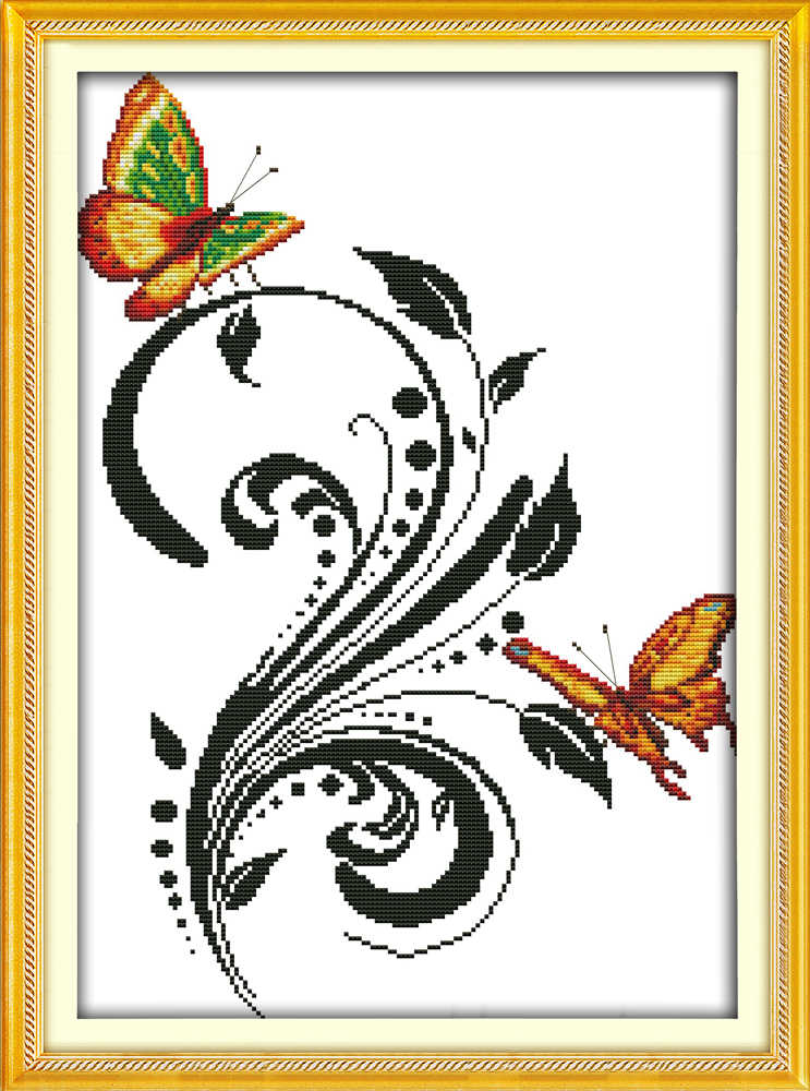 Joy sunday animal style Two butterflies counted free quick and easy cross  stitch patterns kits for embroidery floss color chart