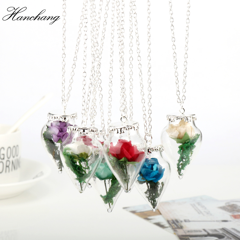 d4f1f46b81 2018 New Design Glass Dried Flower Mirror Magic Bottle Copper Necklace Rose  Valentine'S Day Gift Natural Handmade Beauty Beast