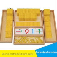 Wooden Montessori Children's Professional Edition Montessori Maths Teaching Tools Decimal and Bank Game Toys math toys