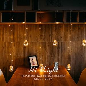 Image 2 - Led銅線スターカーテンストリングライトランプ屋外の結婚式のための妖精の照明クリスマス装飾220 220v euプラグキラキラ輝いて